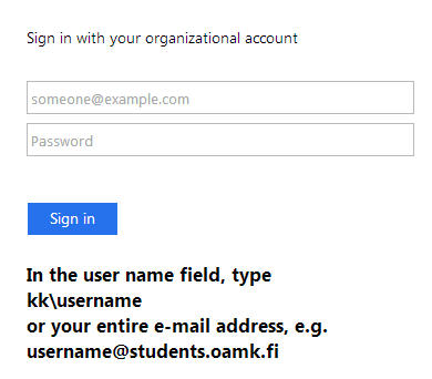 A screen-capture about the login view