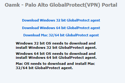 VPN connection using Global Protect (Palo Alto)