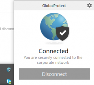 The status of the VPN connection is shown.