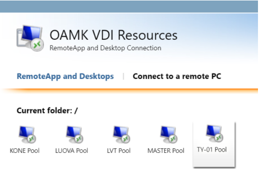 In the Oamk VDI Resources RemoteApp and Desktops, there are five options to choose from: Kone Pool, LUOVA Pool, LVT Pool, MASTER Pool and TY-01 Pool.