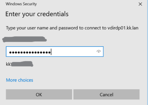 The Enter your credentials popup window asks you to type your user name and password to connect to vdirdo01.kk.lan. It shows your name and below it there is a field for your password. At the bottom of the window there are two buttons, OK and Cancel.