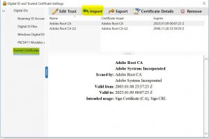 Trusted Certificates -> Import
