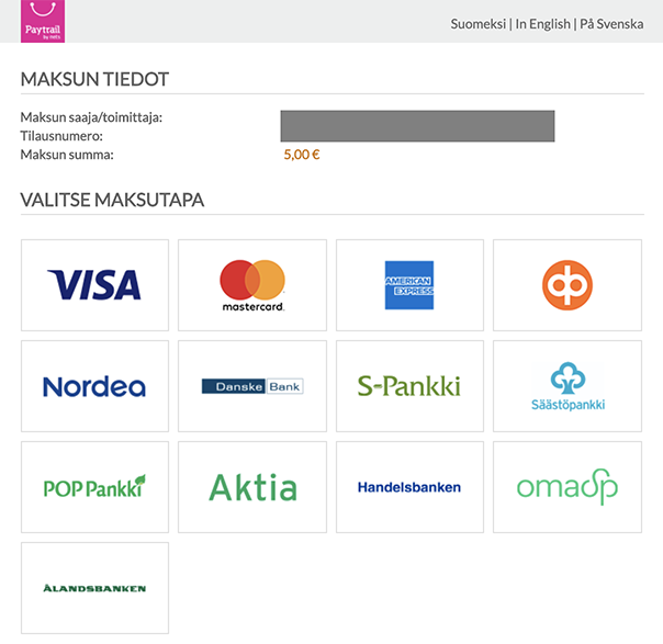On the top of the page, you can choose the language of the service. Then choose the bank or your credit card from the available options. In the picture, there's VISA, Matercard, American Express, Osuuspankki, Nordea, DanskeBank, S-pankki, Säästöpankki, POP Pankki, Aktia, Handelsbanken, Oamk SP and Ålandsbanken.